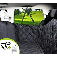 Dog Car Seat Covers Unique Design & Entire Car Protection-Doors,Headrests & Backseat. Extra Durable Zippered Side Flap, Waterproof Pet Seat Cover + Seat Belt & 2 Headrest Protectors as a