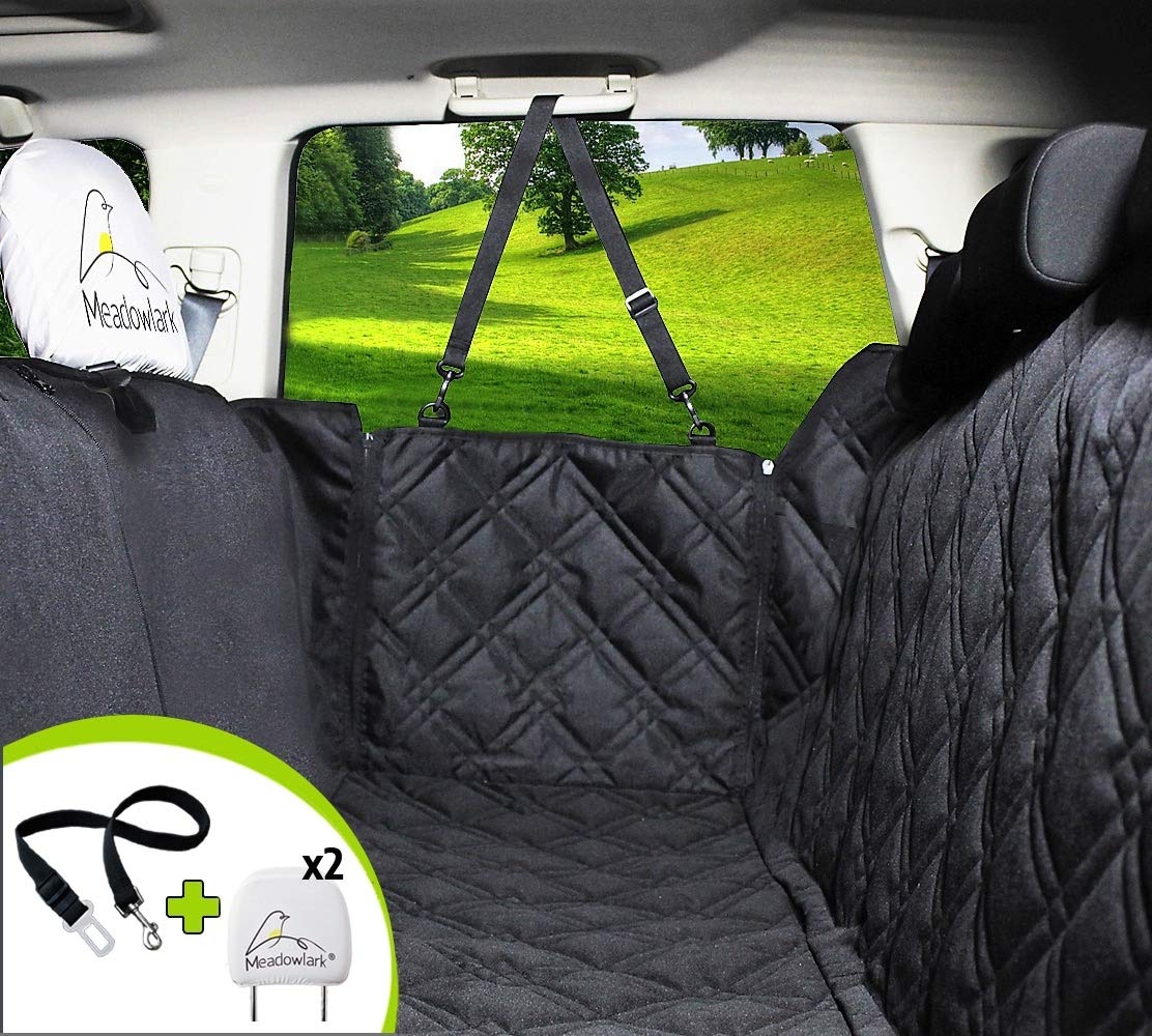 Meadowlark Dog Seat Covers Unique Design & Entire Car Protection-Doors,Headrests & Backseat. Extra Durable Zippered Side Flap, Waterproof Pet Seat Cover