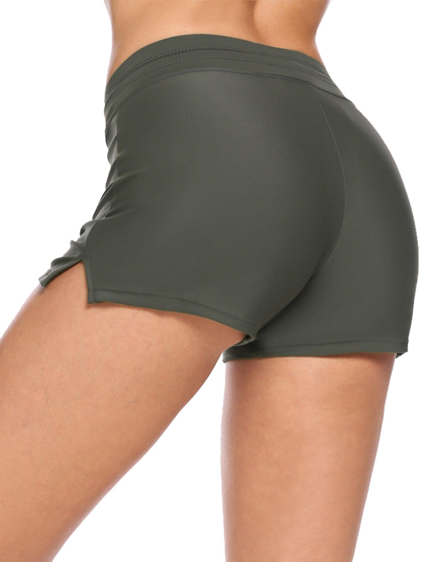 Avidlove Women's Slim Boardshorts Solid Color Side Split Sports Board Shorts(Brown, XXL)