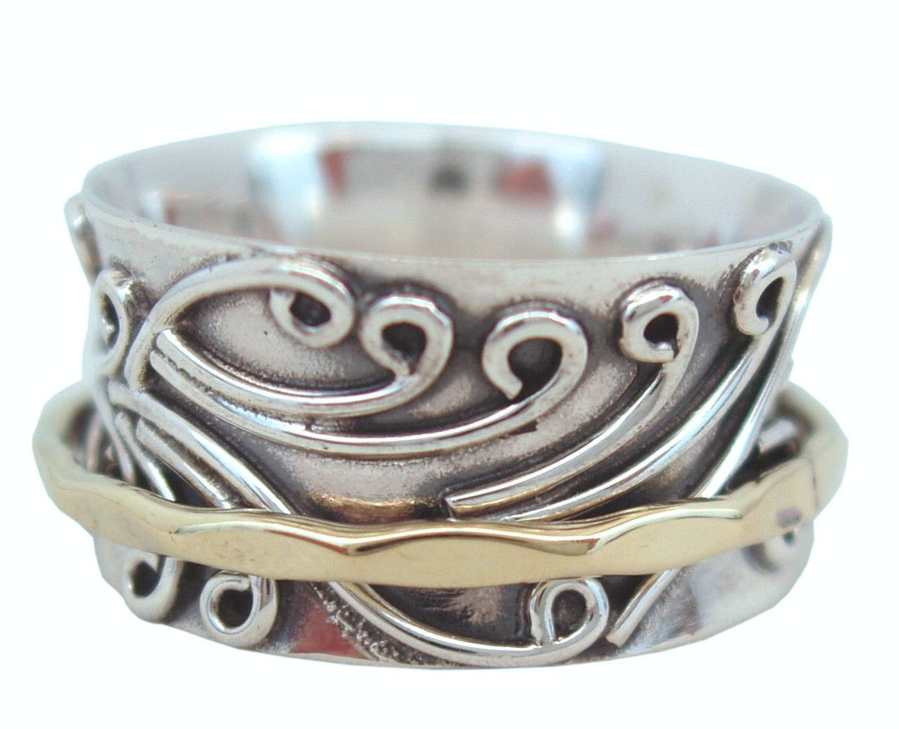 Energy Stone RADHA Meditation Spinner Ring with Brass Spinner on 3D Floral Pattern (Style #US05) (10.5) by Energy Stone (Image #4)