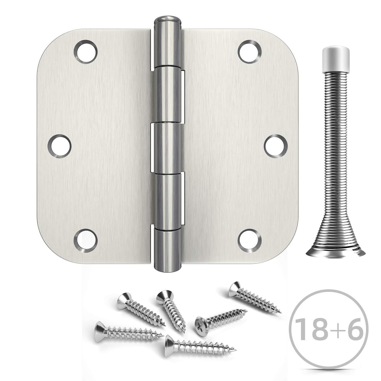 5//8Rounded Corner Hinge 6pcs Spring Door Stops 18pcs Interior Door Hinges Hosom 3.5 Inches Door Hinges Brushed Nickel
