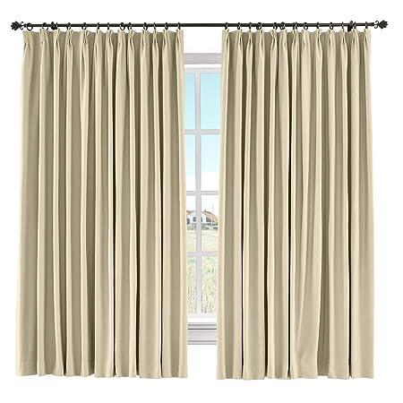 ChadMade 60 W x 84 L Solid Cotton Linen Curtain Panel Pinch Pleated Drape Light Block Curtain Kid Room Drape Bedroom Living Room Sliding Door Panel, Flax, 1 Panel