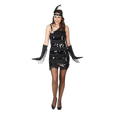 Vestido charleston años 50 de señora con lentejuelas color negro ...