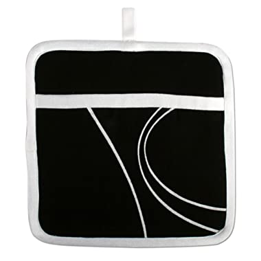 tag 900648 Corelle Simple Lines Potholder, 8 by 8-Inch, Geometric, Black