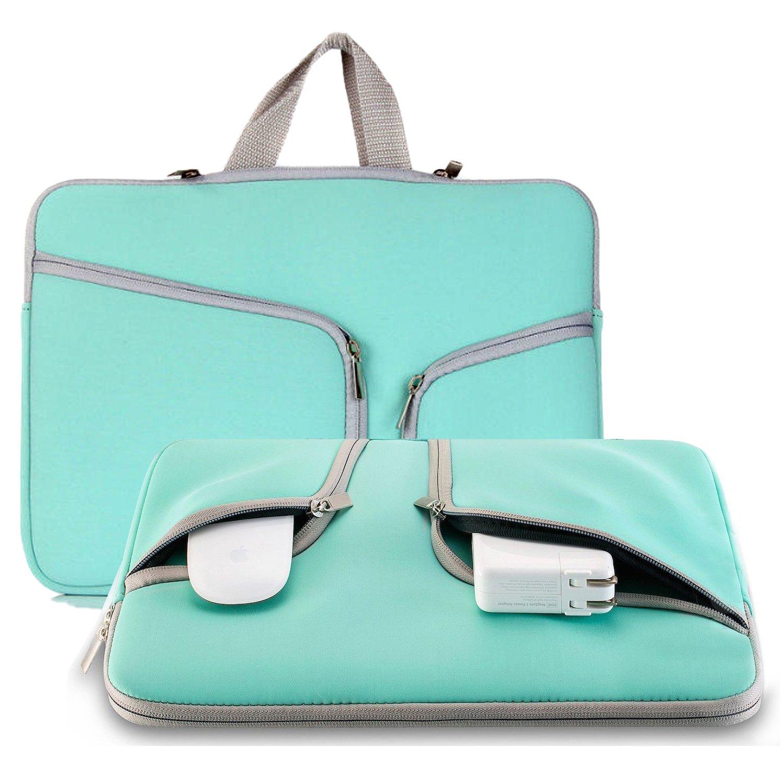 Laptop Sleeve Case 11.6-12.3 inch, NOKEA Protective Portable Carrying Case Bag Handle Accessory Pocket for Mac Air 11.6''/New Mac 12''/Surface Pro 4/3 Chromebook Bag (Aqua)