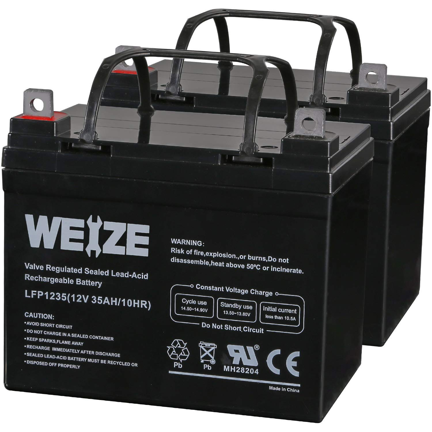 Weize 12V 35AH Deep Cycle Battery for Scooter Pride Mobility Jazzy Select Electric Wheelchair - 2 Pack in Series 24V by WEIZE