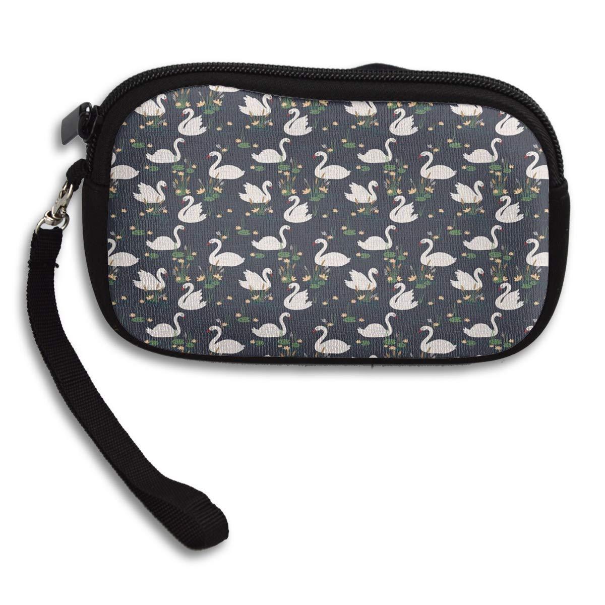 Swan Pond Lilies Cattails Blue Lake Coin Pouch Clutch Purse Wristlet Wallet Phone Card Holder Handbag
