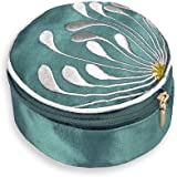 Travel Jewelry Case - Embroidered Chrysanthemum (Seafoam)