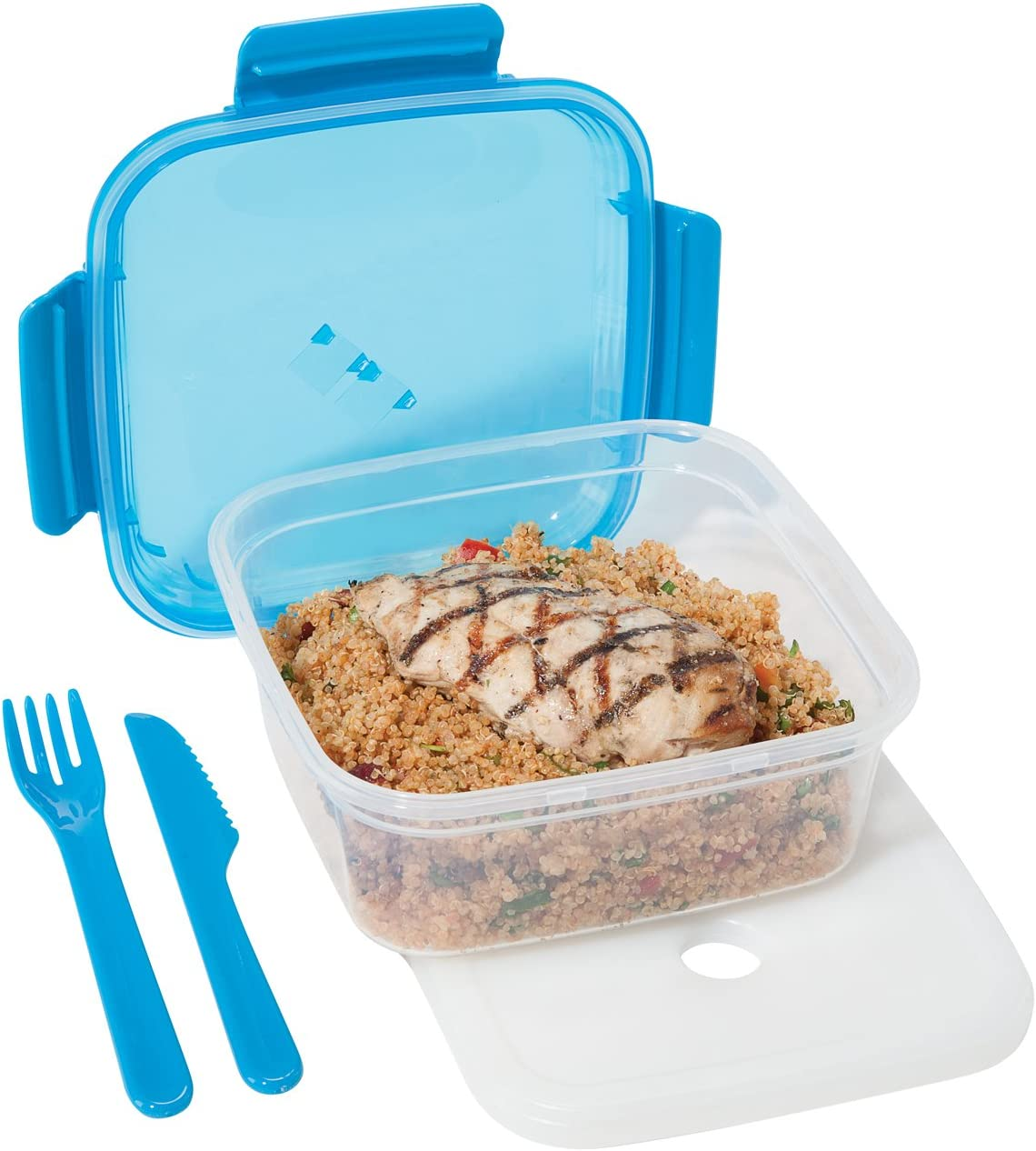 Oggi Chill To Go Food Container Lunchbox Set - Includes Knife, Fork, Bottom Container, and Removable Freezer Pack-Blue