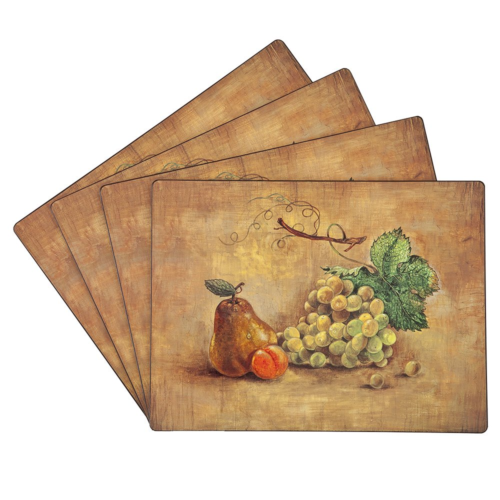 Benson Mills Cork Placemats Pears Grapes Set Of 4