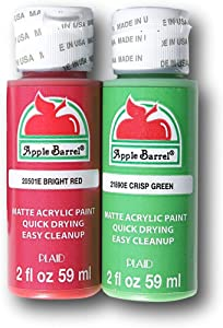 Apple Barrel Acrylic Paint Classic Christmas Set - Bright Red and Crisp Green (2 Ounces Each)