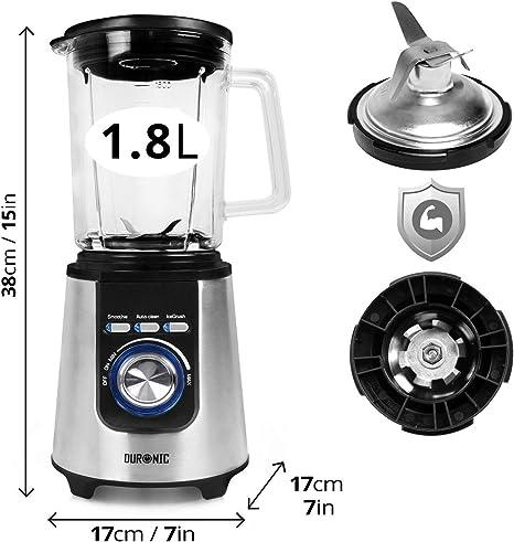 Duronic BL1200 – Licuadora 1200W -Acero Inoxidable con jarra de ...