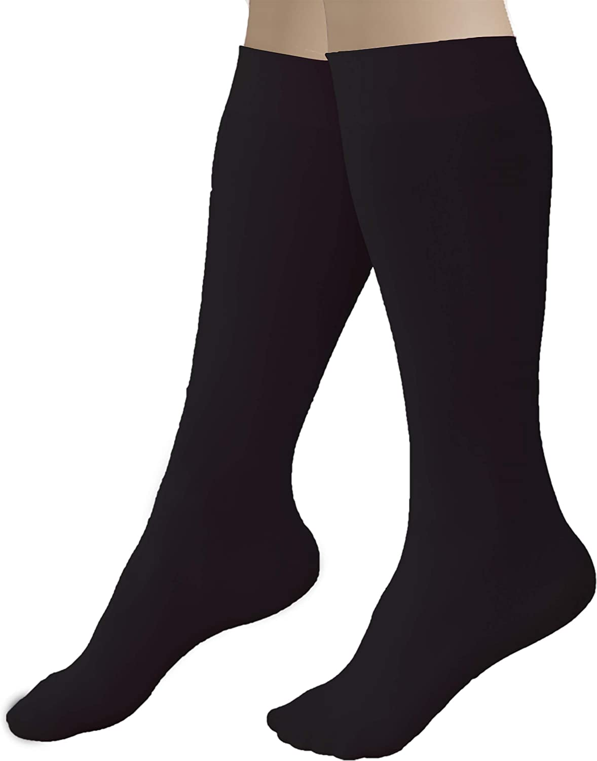 CRS Cross Figure Skating Socks (2 Pair) Knee High Tights for Ice Skates, Footed Skate Socks, Dance Tights