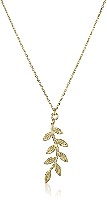 14k Yellow Gold Leaf Pendant Necklace, 18