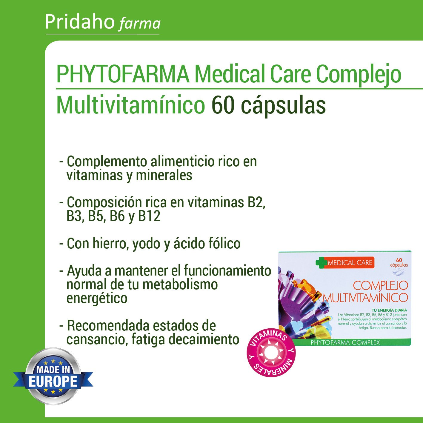 PHYTOFARMA MEDICAL CARE Complejo Multivitamínico 60 cápsulas: Amazon.es: Salud y cuidado personal