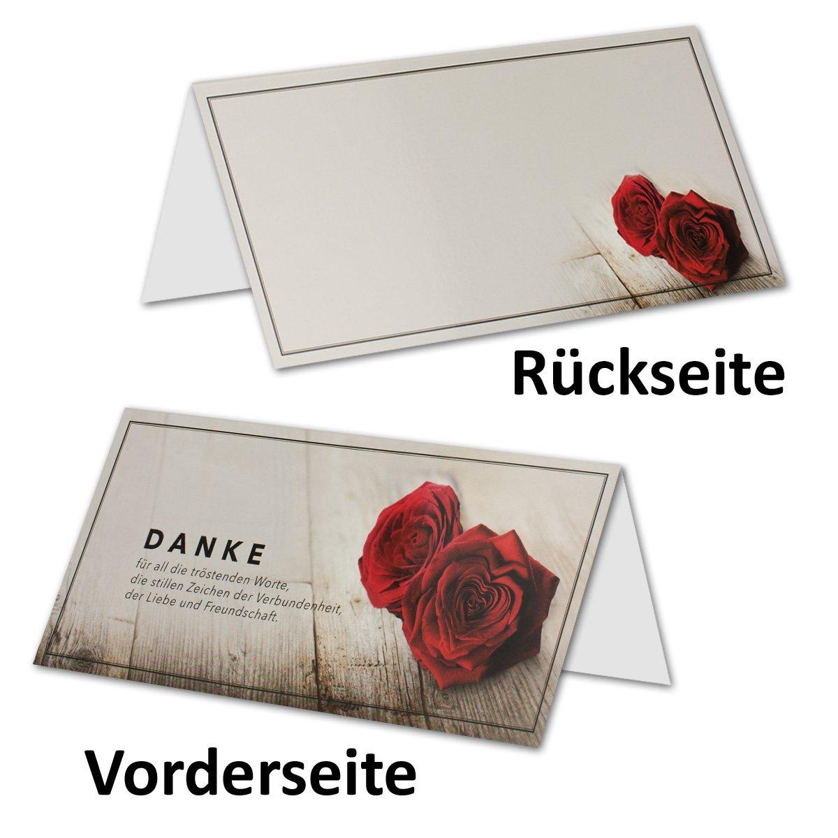 Trauer-Papiere by Gustav NEUSER DIN Lang Danksagung Komplett-Paket mit Umschlag /& Einlege-Bl/ätter /& schwarzem Schmuck-Band 10x Trauerkarten-Set Johanna Rosen-Motiv