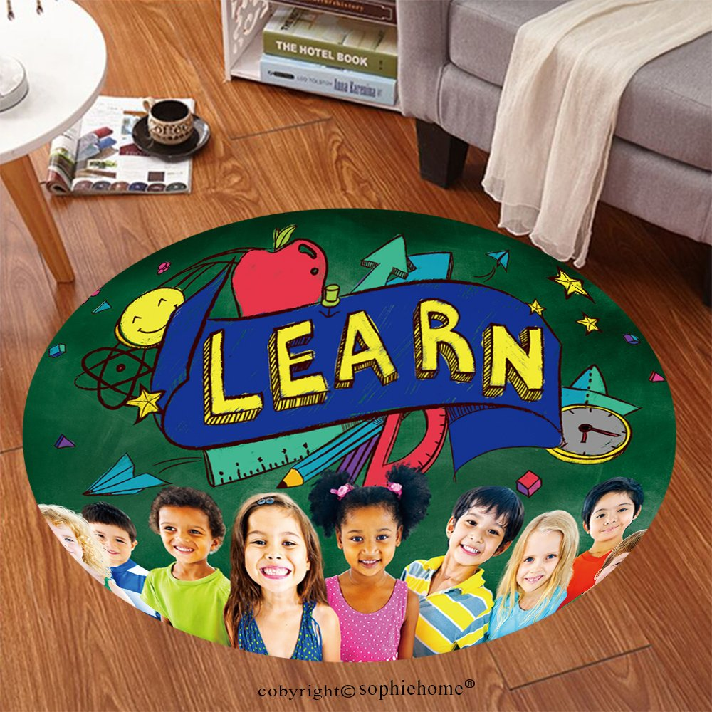 Sophiehome Soft Carpet 298182533 Kids School Education Learn Wisdom Young Concept Anti-skid Carpet Round 47 inches