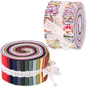 Fabric Jelly Rolls, Jelly Roll Fabric Strips for Quilting, Patchwork Craft Cotton Quilting Fabric, Patchwork for Crafting, Quilting Fabric with Different Patterns