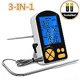 Termometro Cucina BBQ 3 in 1 Pathonor Termometro da carne/interno Digitale LCD&Doppie sonde con Previsioni Temperatura,timer,per BBQ, Carne,Forno,Zuppa