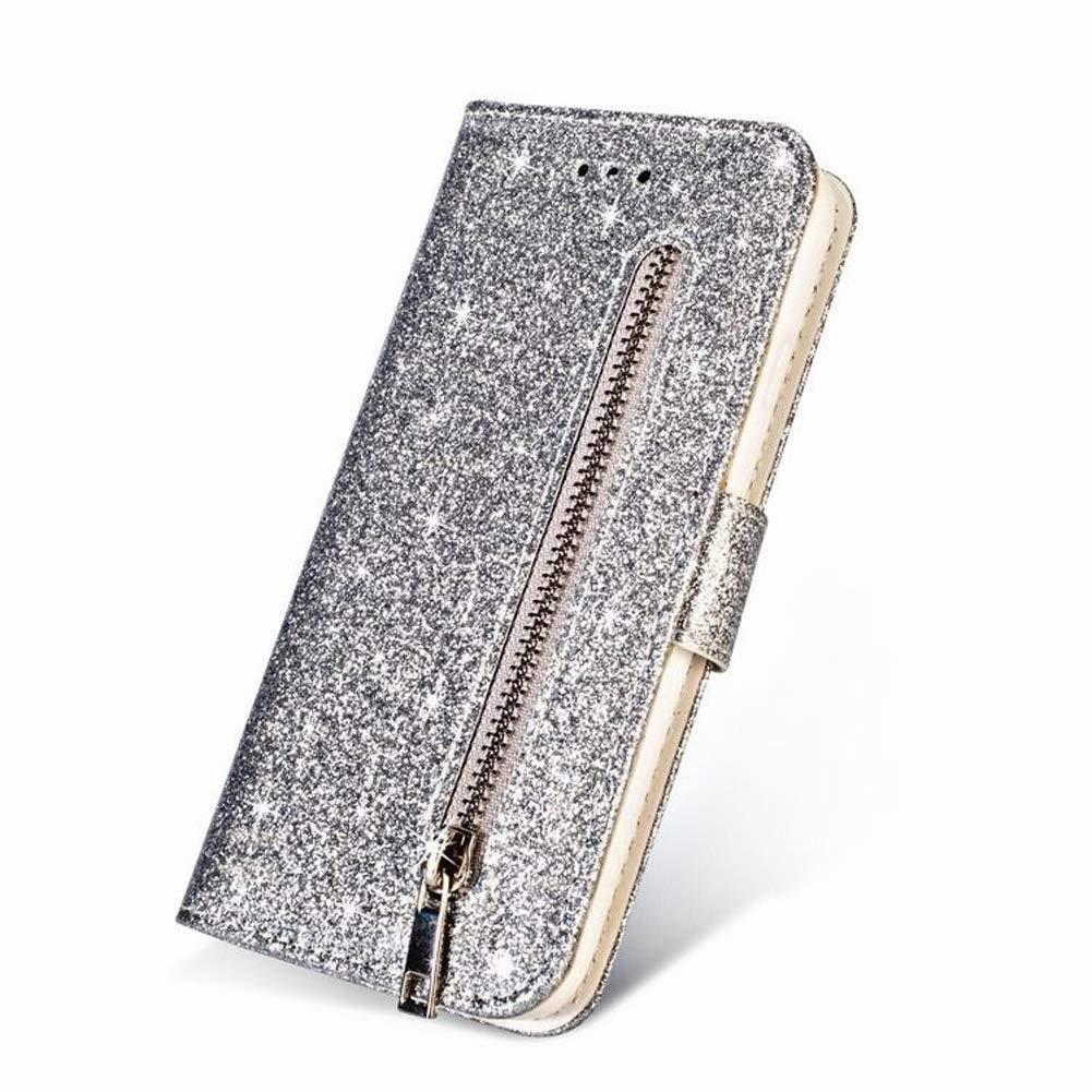Argent Homikon Etui en PU Cuir Portefeuille Paillette Strass Brillante Glitter Coque Book Housse /à Rabat Folio /à Clapet Porte-cartes /Étui Flip Case Cover Compatible avec Samsung Galaxy J7 2017
