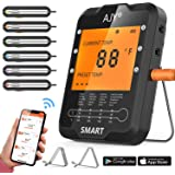 BBQ Meat Grill Thermometer,AJY Smart Bluetooth Wireless Remote Digital Cooking Food Meat Thermometer with 6 Probe for…
