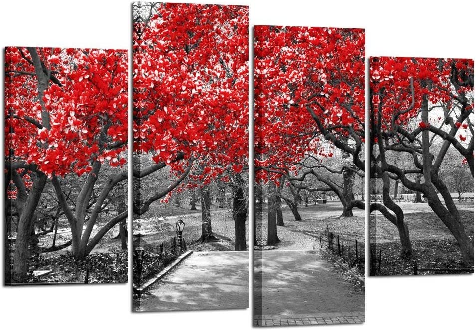 Kreative Arts - Large 4 Piece Canvas Prints Canopy of Red Trees in Surreal Black and White Landscape Scene in Central Park New York City Picture Wall Art Modern Canvas Painting for Home Decoration