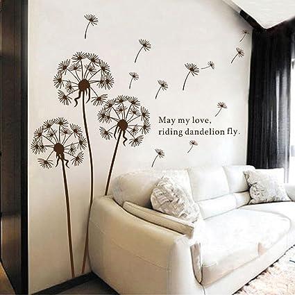 Betroice diseño único cristal lados pegatinas de pared - flores de diente de león - cita