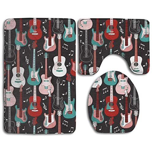 Bath Mat Sets Rock and Roll Guitars Contour Rug U-Shaped Toilet Lid Cover,Non Slip,Machine Washable,3-Piece Rug Set Easier to Dry