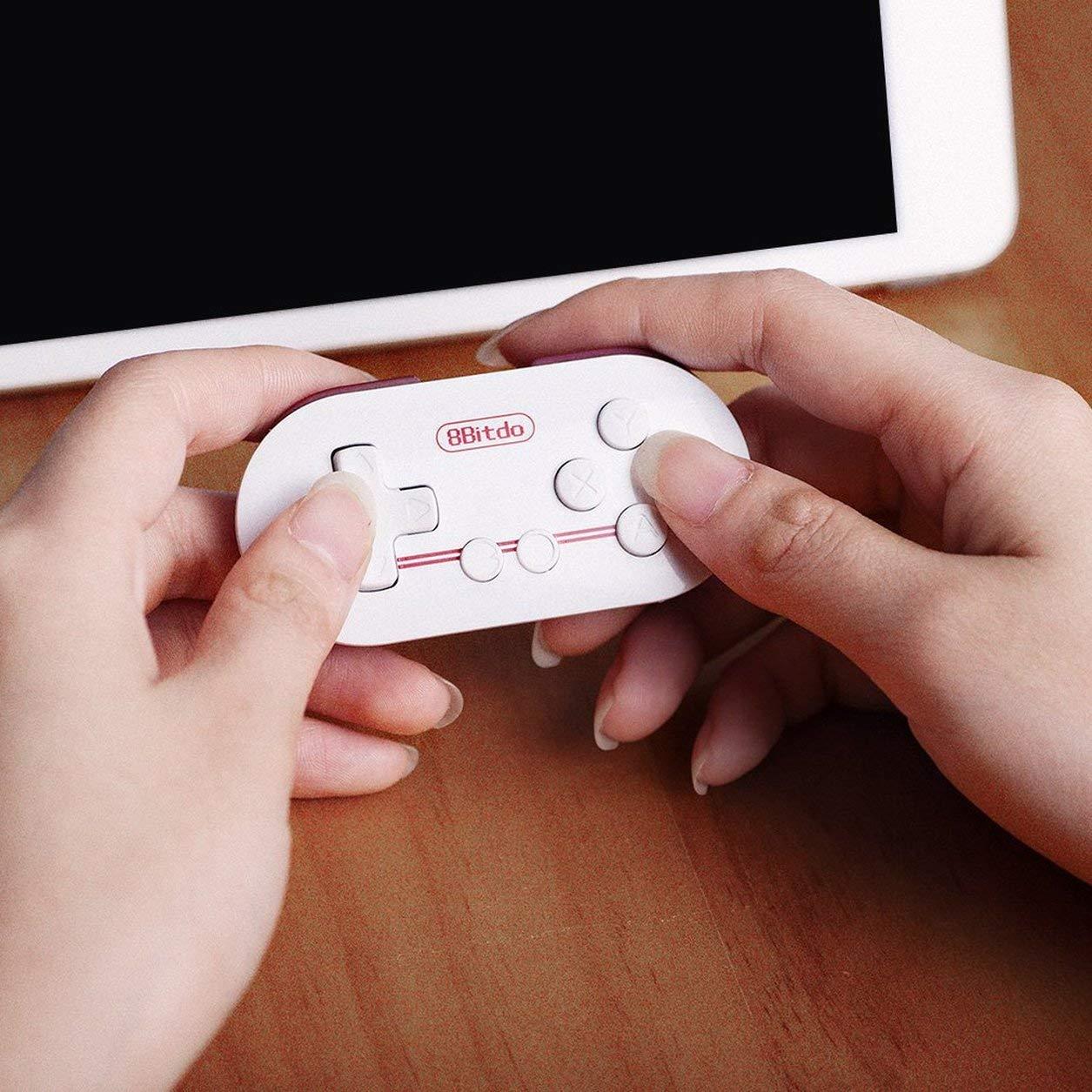 Dailyinshop Mini White Portable 8Bitdo Zero ABS Bluetooth Wireless Gamepad Game Controller Joypad Joystick con CPU Arm a 32 Bit