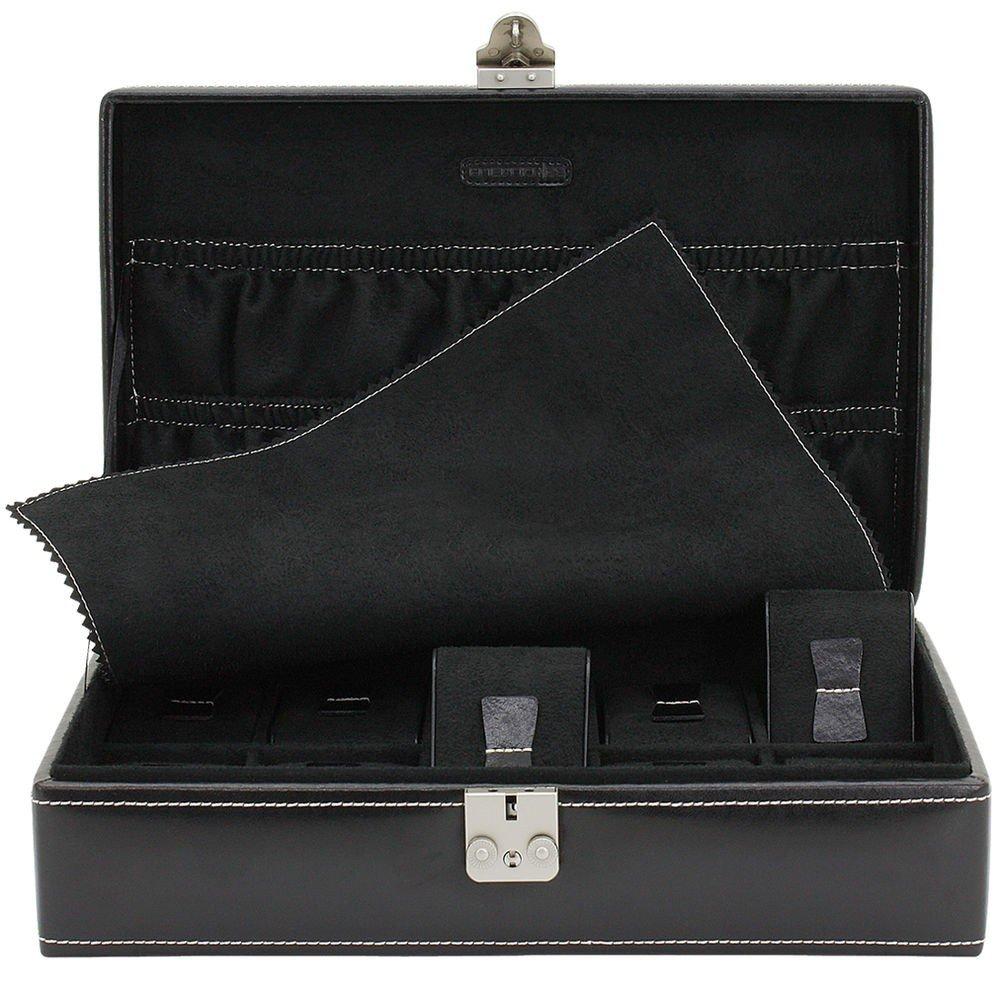 exklusiver Uhrenkoffer von Friedrich Lederwaren Schwarz fÜr 10 Uhren Rindleder Uhrenetui Aufbewahrungsbox