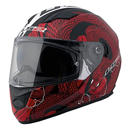 LS2 Stream Snake Full Face Motorcycle Helmet With Sunshield (Red/White, Small)