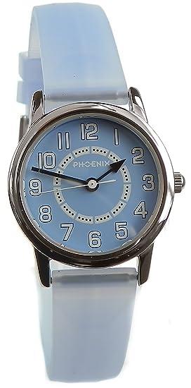 Phoenix PX067453001 - Reloj analógico unisex de cuarzo con correa de goma azul - sumergible a 30 metros: Amazon.es: Relojes