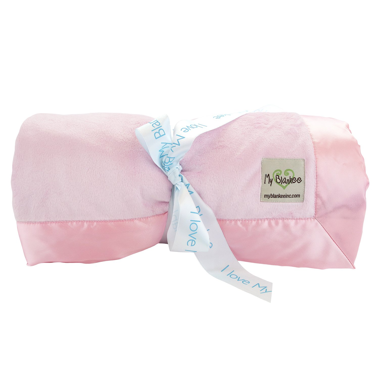 My Blankee Minky Solid Full Queen Blanket with Flat Satin Border, Pink, 90'' x 90''