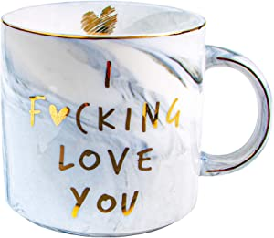 VILIGHT Girlfriend Boyfriend Gifts I Love You Mug for Him Her - Funny Presents Ideas for Husband Wife - Marble Coffee Cup 11.5 Oz