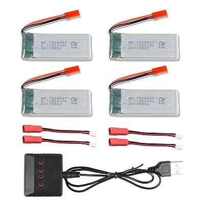 4pcs 3.7V 900mAh Batterie pour 8807 8807W Fordable RC Quadcopter Drone Mini RC Quadcopter Drone + 1 à 4 + Chargeur Câble - CreaTion