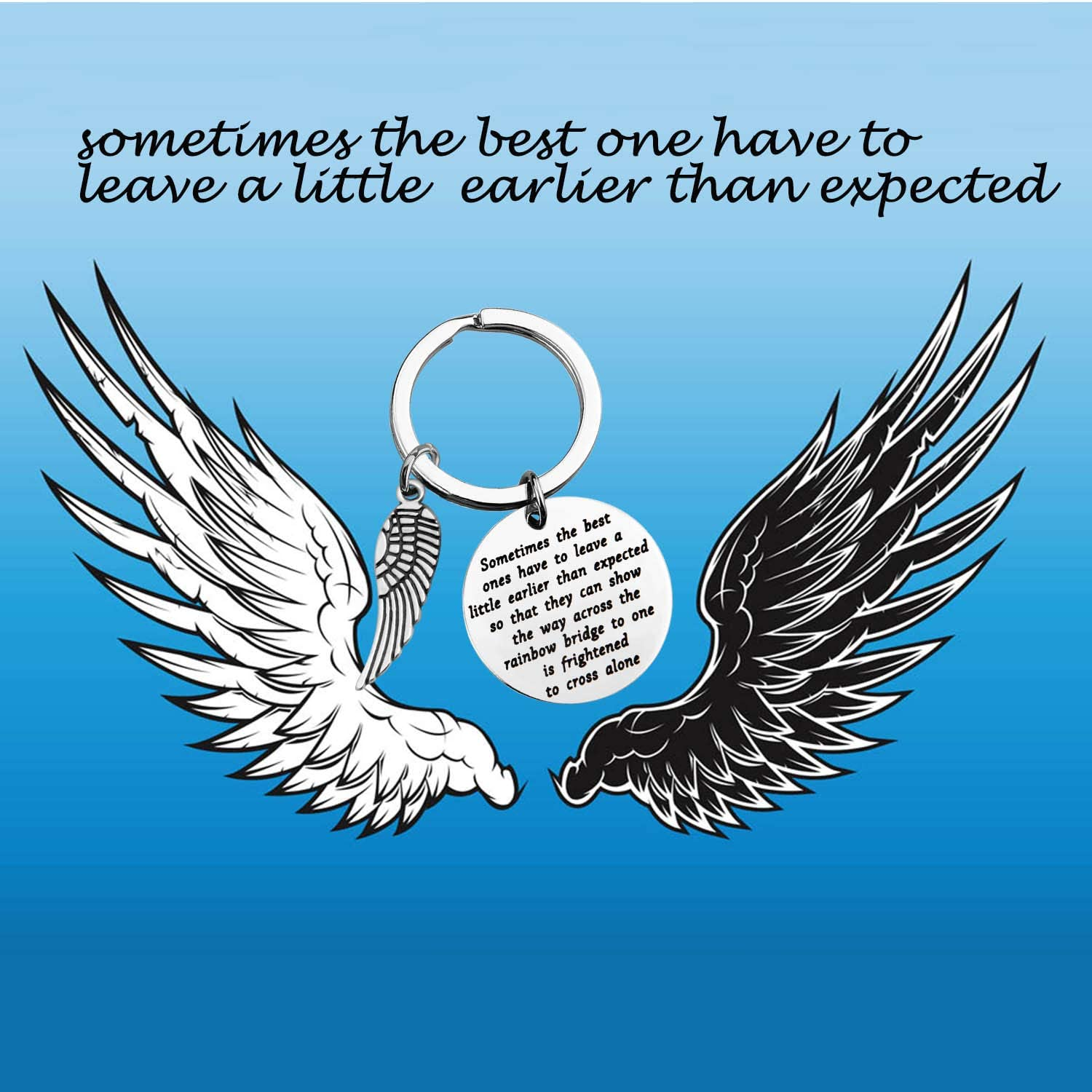 TIIMG Memorial Gift in Loving Memory Gift Sympathy Gift Loss of Loved One Gift Angel Wing Keychain Memorial Jewelry