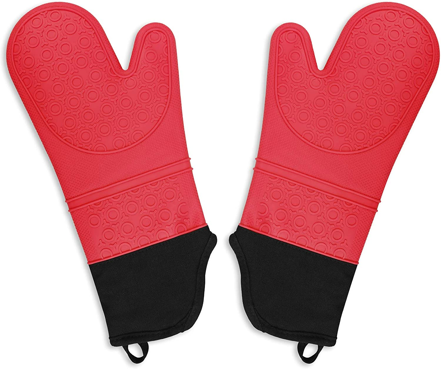 1 Pair of Non Slip Extra Long Professional Baking Oven Gloves for Cooking Baking Grilling Machine Washable Blue Seniny Silicone Protective Oven Mitts 500 F Heat Resistant with Waterproof