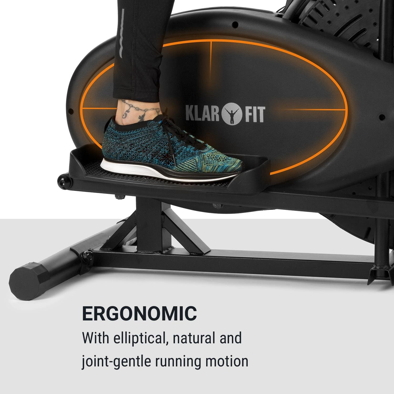 Klarfit Orbifit Advanced • Máquina de Correr elíptica • Bicicleta elíptica • Pulsómetro • Altura Regulable • Estructura de Acero • Agarre Acolchado ...