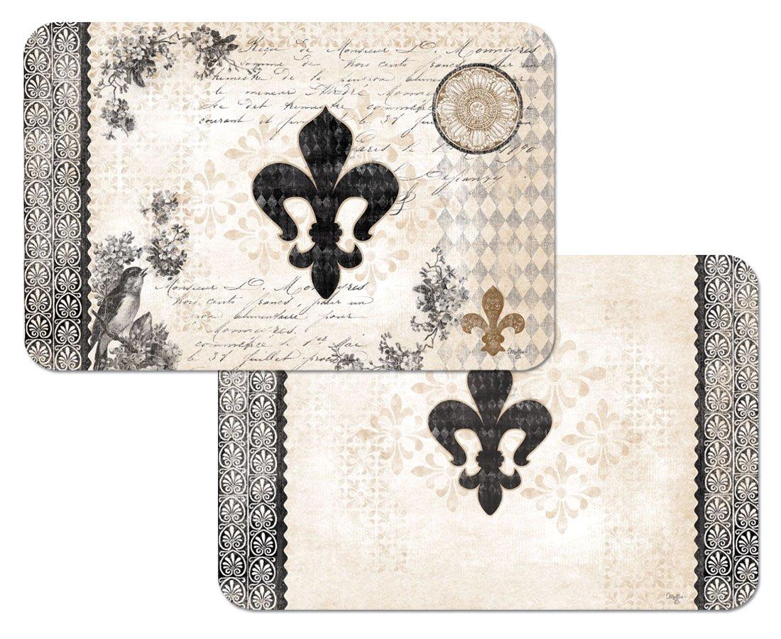 Amazon: French Fleur De Lis Reversible Washable Vinyl Placemats Set Of  Four: Home & Kitchen