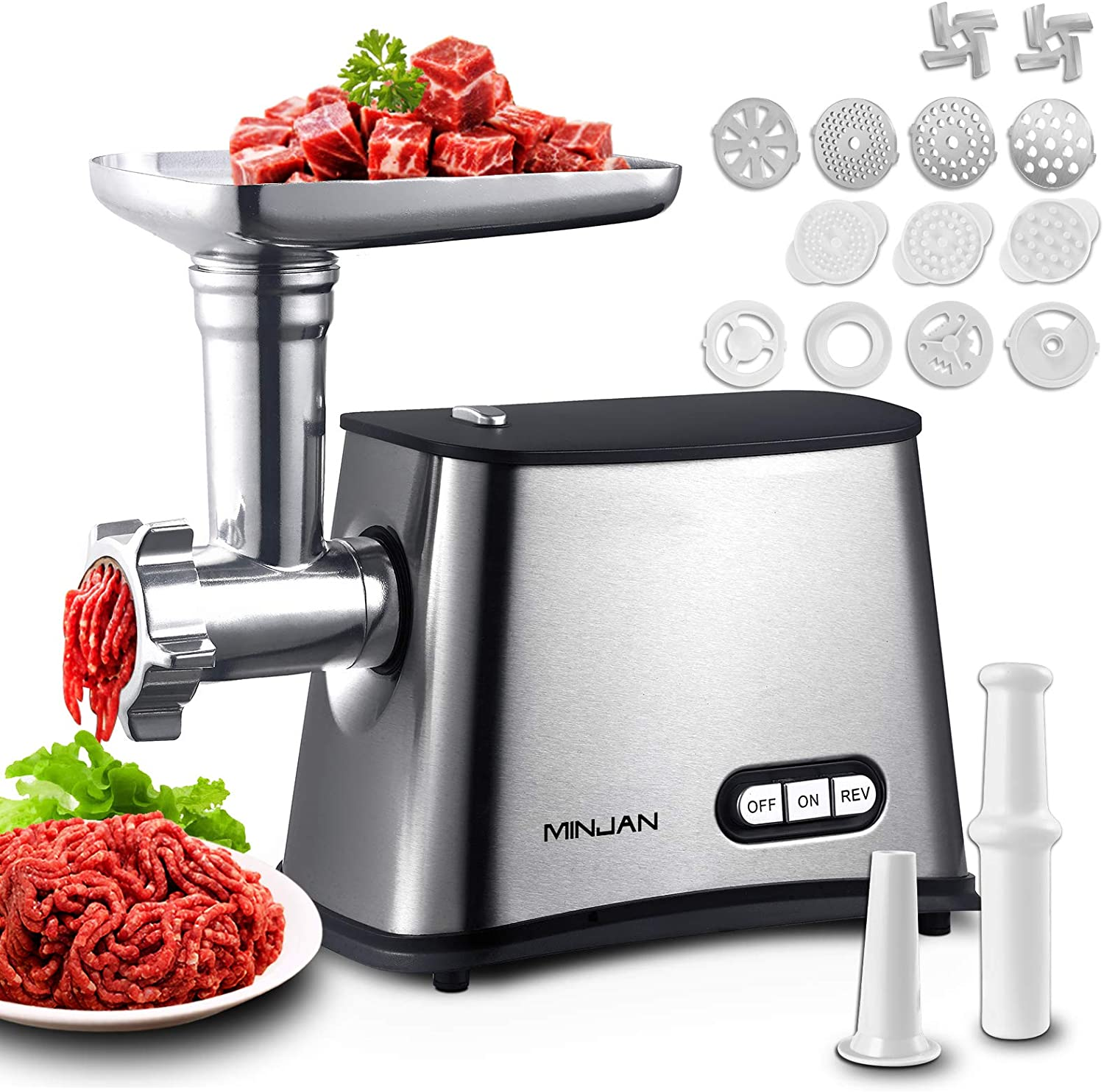 N/N Electric Meat Grinder 1200W Max Stainless Steel Meat Mincer & Sausage Stuffer with Kubbe Kit 2 Stainless Steel Blades 4 Grinding Plates Cookie Maker Cutting Plate Cleaners for Home Use