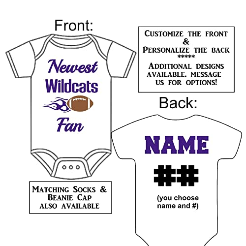 Baby Announcement Reveal or Shower Gift Personalized Custom Made Newest Wildcats Fan Football Gerber Onesie Jersey