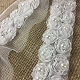 """3"""" Wide Off White Ribbon Trim on Mesh w/Flowers and Pearls! Used for Bridal and Childrens Garments 1 Yard"""