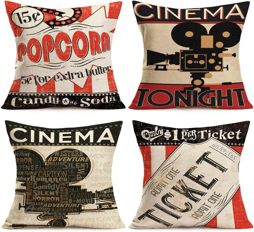 Aremetop Movie Theater Throw Pillow Covers Cinema Tonight Quotes Personalized Cushion Cover with Popcorn Drink,Film Projector,Ticket Pattern Home Decorative Cotton Linen Pillowcases 18X18 Inch,4 Pack
