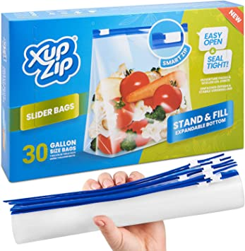 Food Storage Freezer Bags by XupZip™ | Heavy Duty Slider Ziplock Bags | Airtight Smart Zip Bags with Expandable Bottom | Stand and Fill BPA Free Food Storage Bags – 30 x Gallon Food Bags (4.55L): Amazon.co.uk: Kitchen & Home