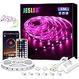 Tiras LED, JESLED 5M Tiras de Luces LED Sincronización de música Bluetooth, control de aplicaciones, Remoto de 44…