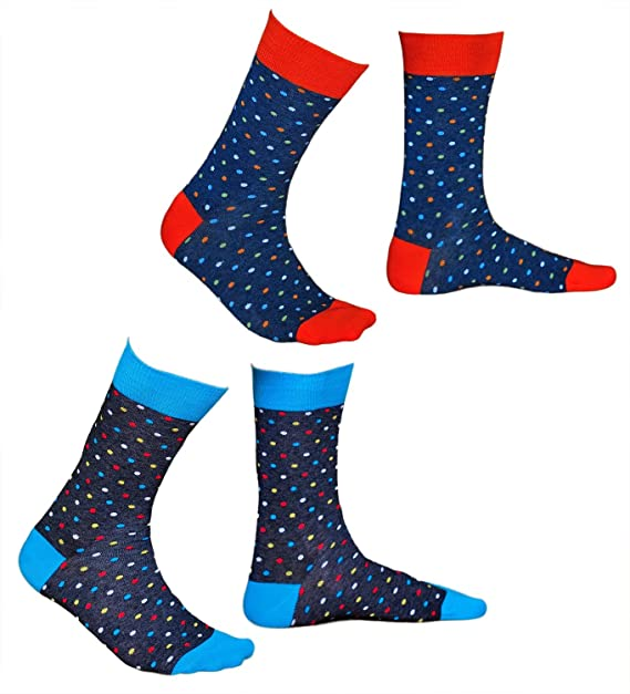 Dotted Socks Men, Soft Cotton, Polka Dot Pattern Sock with Colorful Circles, Vitsocks