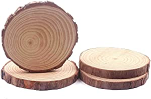 Unfinished Round Wood Tree Slices Basswood Plaque Slabs 4 Pcs 6 to 7 Inch, Wooden Circles with Bark for DIY Crafts Centerpieces Table Home Decor Christmas Ornaments (6-7 inch 4pcs)