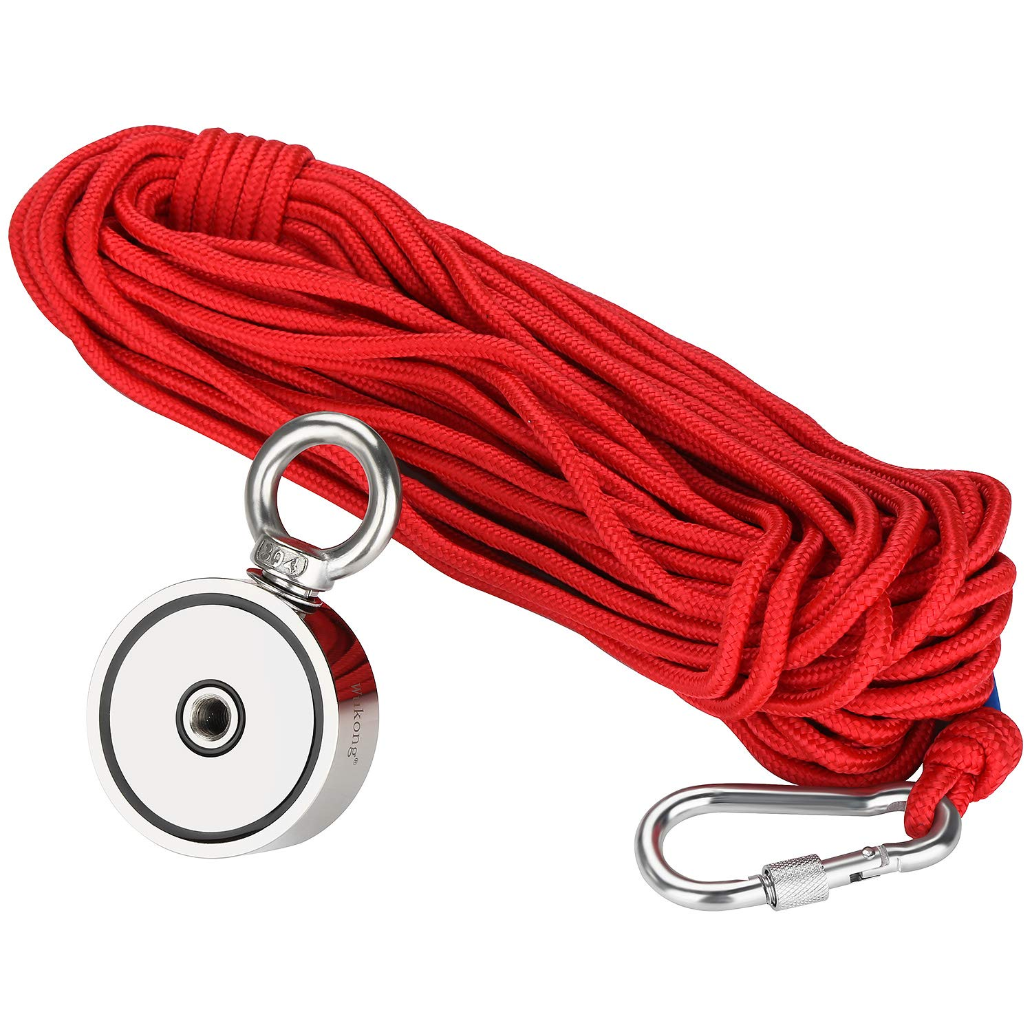 Fishing Magnet with 66ft Rope & Glove, Wukong 760LB Pulling Force Super Strong Neodymium Magnet with Heavy Duty Rope & Carabiner for Magnet Fishing and Retrieving in River - 67mm Diameter by Wukong (Image #3)