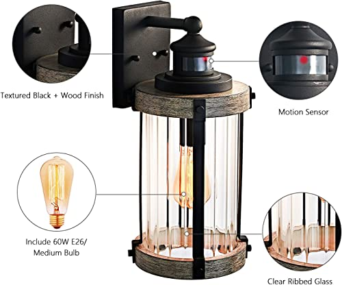 MOTINI Outdoor Wall Lantern Lamp with Motion Sensor, 1-Light Wall Sconce Light Fixture with Clear Ribbed Glass,Bulb Included,ETL Listed