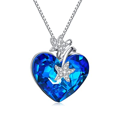 11b6a52809 EleShow Starfish Necklace Pendant for Women Love Heart Necklace for Girls  Crystals from Swarovski